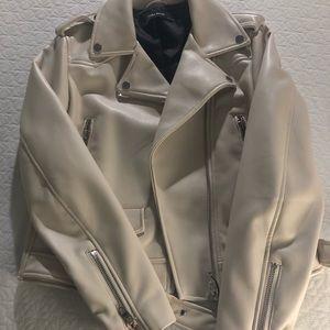 Zara leather faux jacket in cream